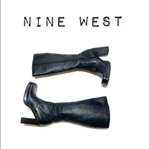 Nine West Black Square toe Block heel boots